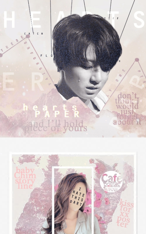 Paper Hearts by Kissforxx at Cafe Poster